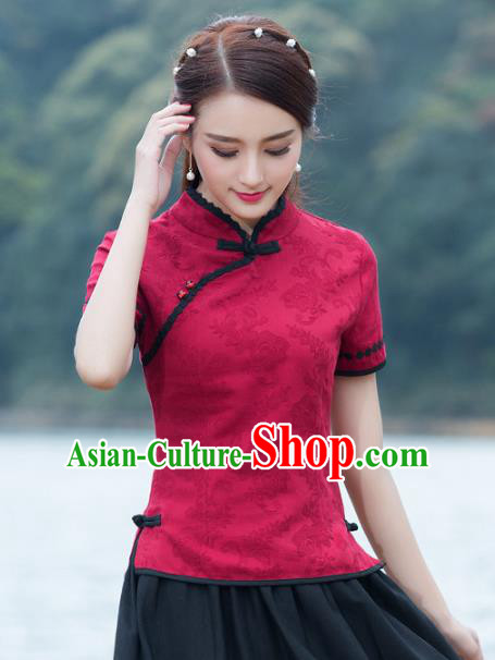 Traditional Chinese National Costume Hanfu Red Qipao Blouse, China Tang Suit Cheongsam Upper Outer Garment Shirt for Women