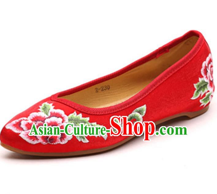 Traditional Chinese National Hanfu Embroidered Shoes, China Princess Embroidery Peony Red Shoes for Women