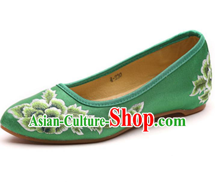 Traditional Chinese National Hanfu Embroidered Shoes, China Princess Embroidery Peony Green Shoes for Women