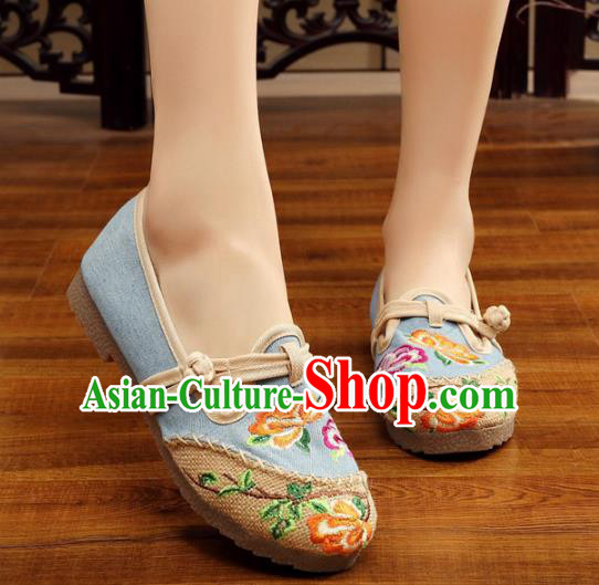 Traditional Chinese National Hanfu Embroidery Peony Linen Shoes, China Princess Blue Embroidered Shoes for Women