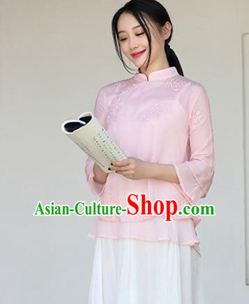 Traditional Chinese National Costume Hanfu Pink Embroidery Qipao Blouse, China Tang Suit Cheongsam Upper Outer Garment Shirt for Women