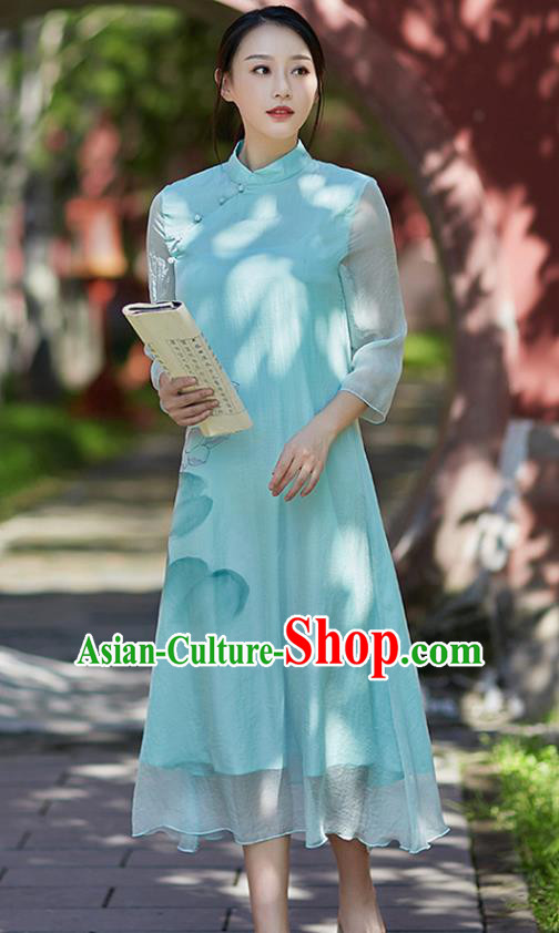 Traditional Chinese National Costume Hanfu Painting Lotus Blue Qipao Dress, China Tang Suit Cheongsam for Women