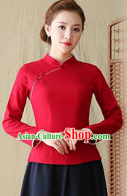 Traditional Chinese National Costume Hanfu Plated Buttons Shirts, China Tang Suit Cheongsam Upper Outer Garment Red Blouse for Women