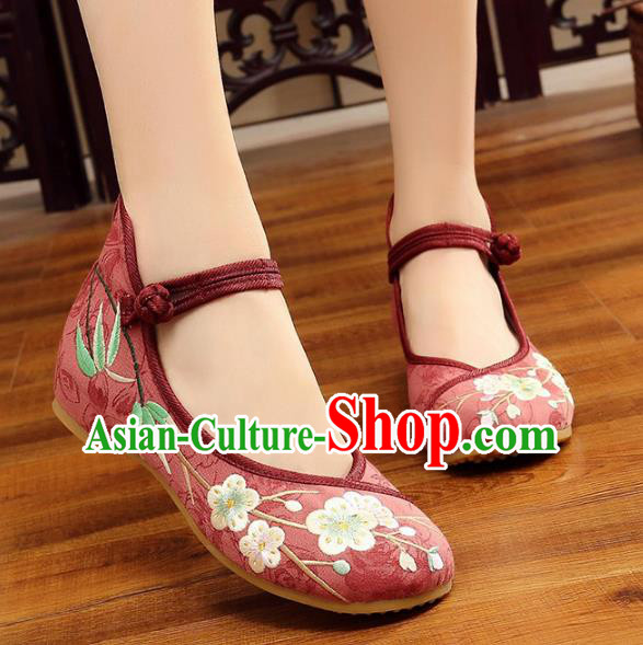 Traditional Chinese National Hanfu Embroidery Wintersweet Red Shoes, China Princess Embroidered Shoes for Women