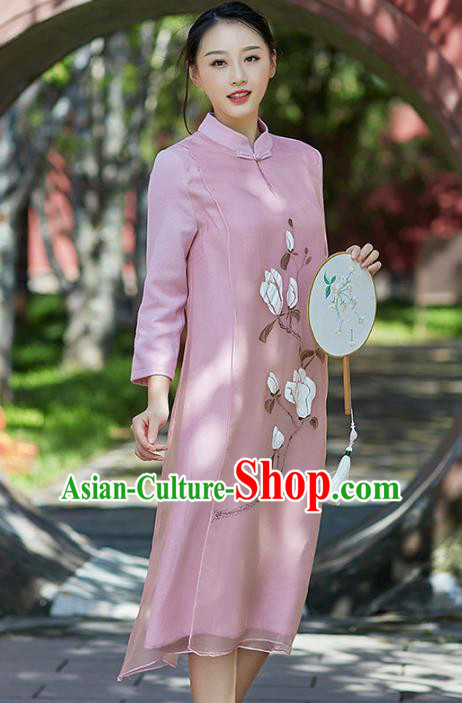 Traditional Chinese National Costume Hanfu Painting Magnolia Pink Qipao Dress, China Tang Suit Cheongsam for Women