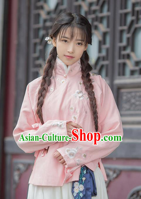 Traditional Chinese National Costume Hanfu Embroidery Cotton-padded Blouse, China Tang Suit Cheongsam Upper Outer Garment Shirt for Women
