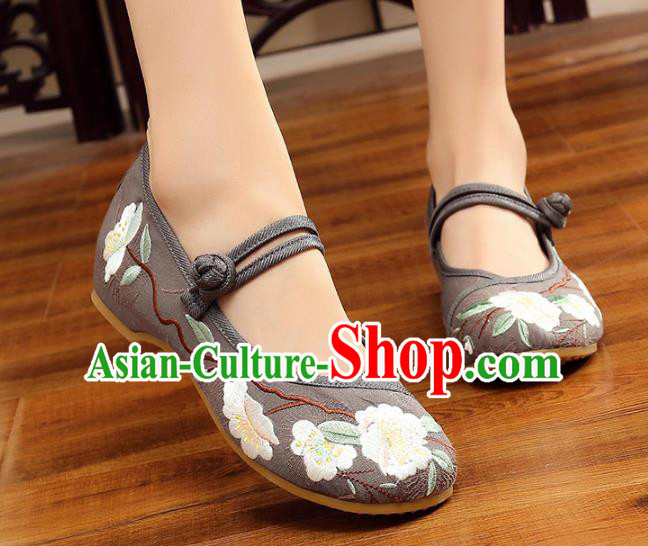 Traditional Chinese National Hanfu Grey Embroidery Flowers Shoes, China Princess Embroidered Shoes for Women