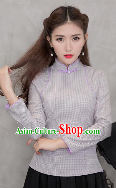 Traditional Chinese National Costume Hanfu Grey Stand Collar Blouse, China Tang Suit Cheongsam Upper Outer Garment Shirt for Women