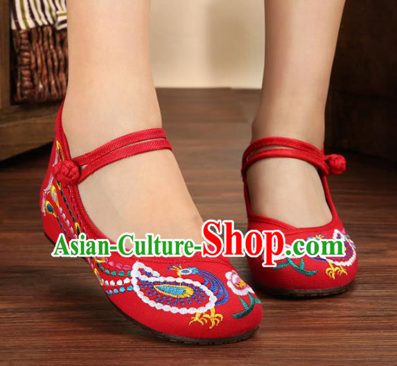 Traditional Chinese National Hanfu Embroidery Phoenix Red Shoes, China Princess Embroidered Shoes for Women