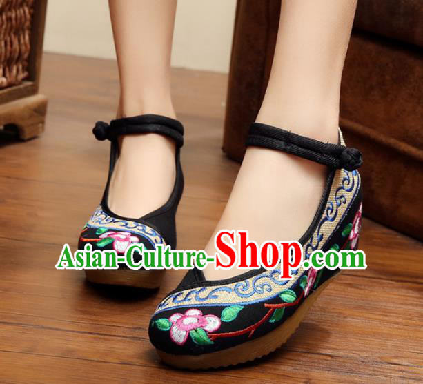 Traditional Chinese National Hanfu Embroidery Flowers Black Shoes, China Princess Embroidered Shoes for Women