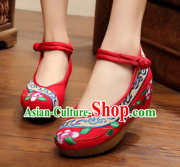 Traditional Chinese National Hanfu Embroidery Flowers Red Shoes, China Princess Embroidered Shoes for Women