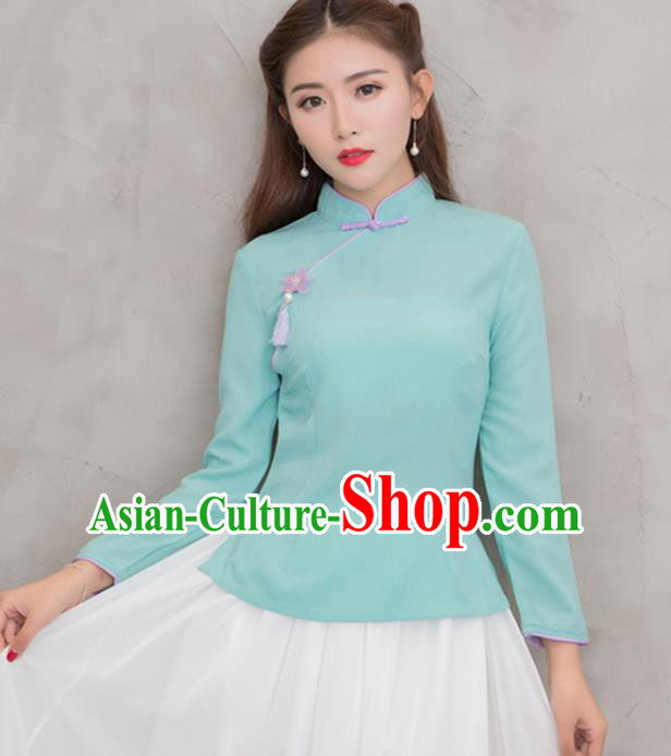 Traditional Chinese National Costume Hanfu Green Blouse, China Tang Suit Cheongsam Upper Outer Garment Shirt for Women