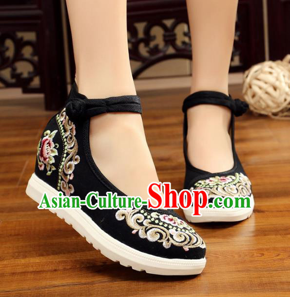 Traditional Chinese National Hanfu Black Canvas Embroidery Shoes, China Princess Embroidered Shoes for Women