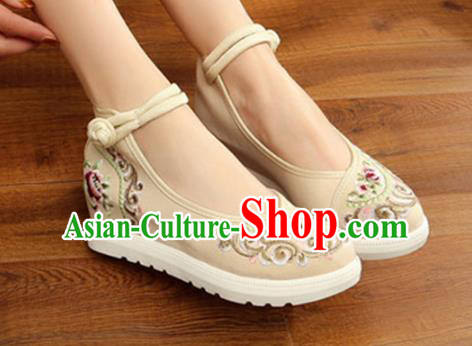 Traditional Chinese National Hanfu White Canvas Embroidery Shoes, China Princess Embroidered Shoes for Women