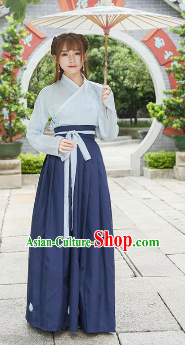 Traditional Chinese Han Dynasty Young Lady Embroidered Clothing for Women