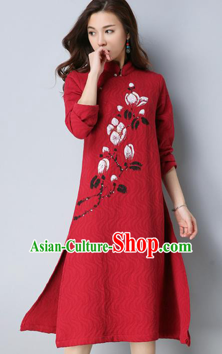 Traditional Chinese National Costume Hanfu Printing Magnolia Qipao, China Tang Suit Cheongsam Dress for Women