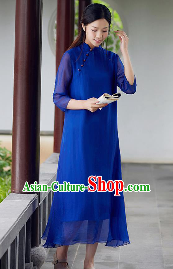 Traditional Chinese National Costume Hanfu Slant Opening Blue Qipao Dress, China Tang Suit Cheongsam for Women