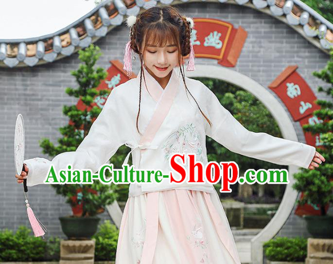 Traditional Chinese National Costume Hanfu Slant Opening Embroidery Blouse, China Tang Suit Cheongsam Upper Outer Garment Shirt for Women