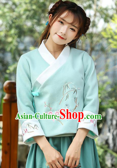 Traditional Chinese National Costume Hanfu Embroidery Blue Blouse, China Tang Suit Cheongsam Upper Outer Garment Shirt for Women
