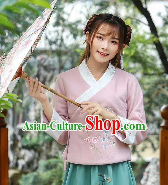 Traditional Chinese National Costume Hanfu Embroidery Pink Blouse, China Tang Suit Cheongsam Upper Outer Garment Shirt for Women