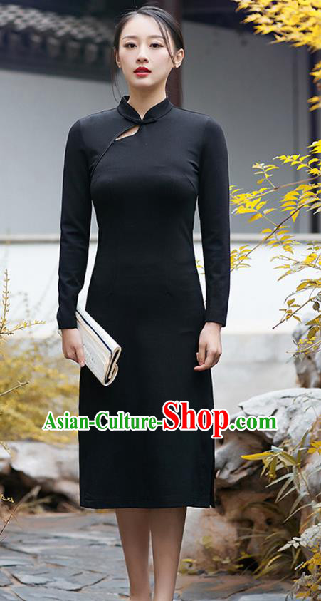 Traditional Chinese National Costume Hanfu Black Qipao Dress, China Tang Suit Cheongsam for Women