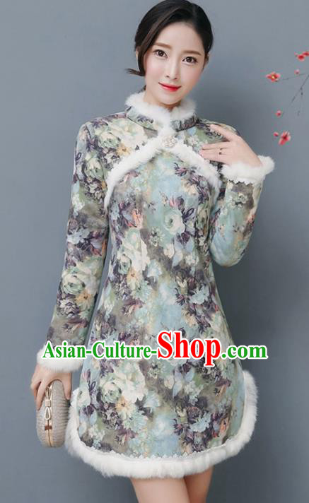 Traditional Chinese National Costume Hanfu Printing Qipao, China Tang Suit Cheongsam Dress for Women