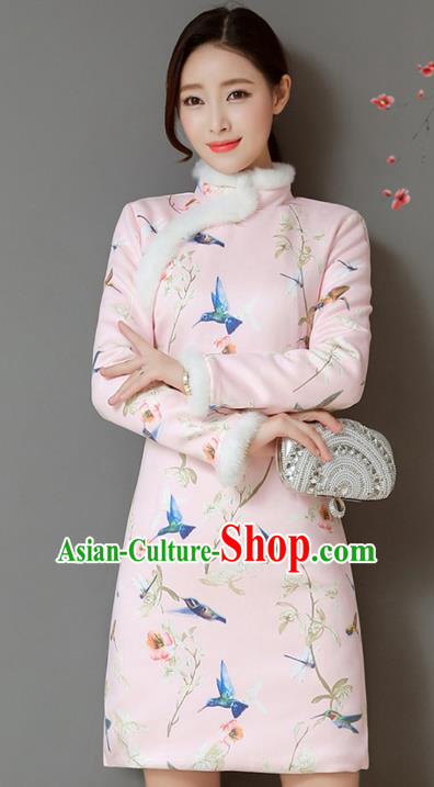 Traditional Chinese National Costume Hanfu Printing Birds Pink Qipao Dress, China Tang Suit Cheongsam for Women