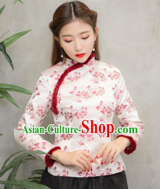 Traditional Chinese National Costume Hanfu Printing Pink Blouse, China Tang Suit Cheongsam Upper Outer Garment Shirt for Women