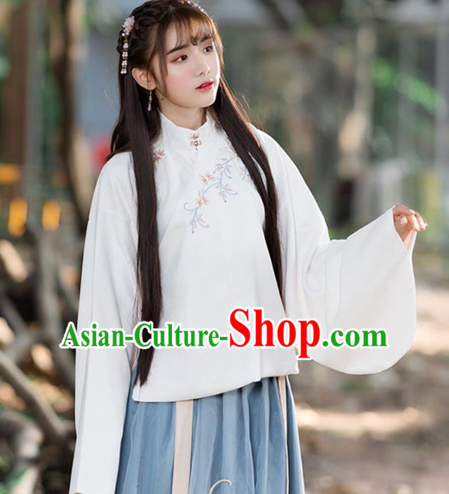 Traditional Chinese National Costume Slant Opening Hanfu Embroidery Blouse, China Tang Suit Cheongsam Upper Outer Garment Shirt for Women