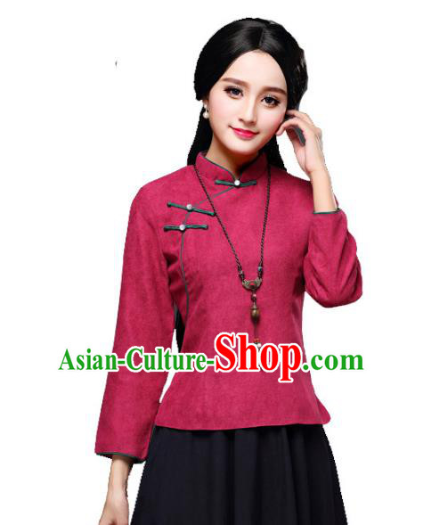 Traditional Chinese National Costume Slant Opening Hanfu Wine Red Blouse, China Tang Suit Cheongsam Upper Outer Garment Shirt for Women