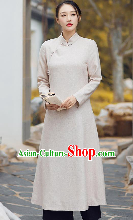 Traditional Chinese National Costume Hanfu Beige Qipao, China Tang Suit Cheongsam Dress for Women