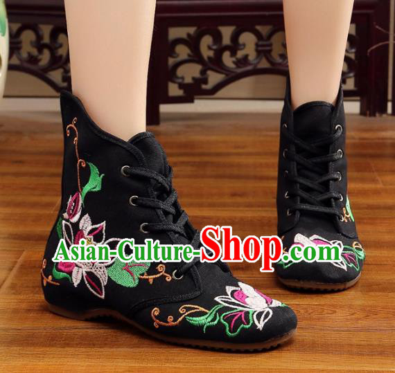 Traditional Chinese National Hanfu Embroidery Flowers Black Shoes, China Ancient Embroidered Shoes for Women