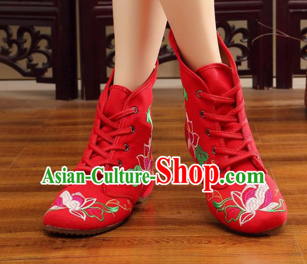 Traditional Chinese National Hanfu Embroidery Flowers Red Shoes, China Ancient Embroidered Shoes for Women