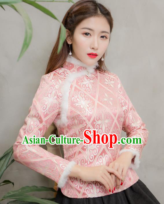 Traditional Chinese National Costume Hanfu Pink Qipao Blouse, China Tang Suit Cheongsam Shirts for Women