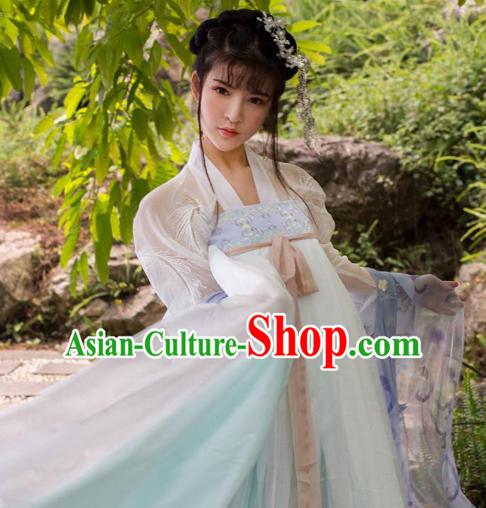 Traditional Chinese Ancient Nobility Lady Costume, China Tang Dynasty Palace Princess Embroidered Clothing for Women