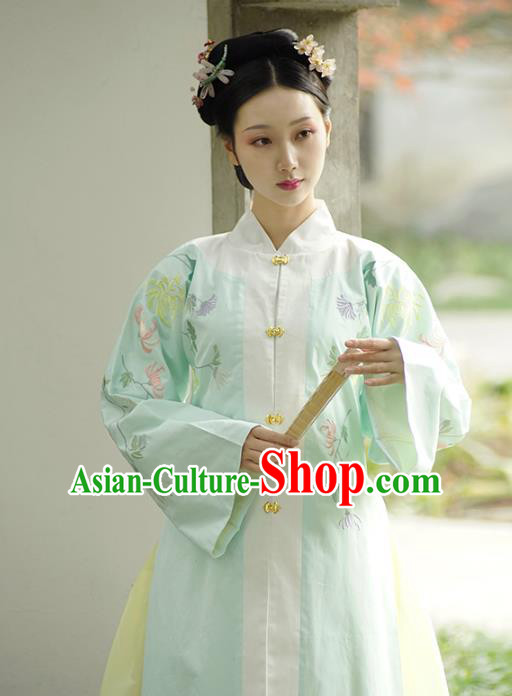 Traditional Chinese Ming Dynasty Nobility Lady Costume Embroidered BeiZi Blouse Clothing for Women