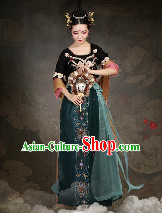 Traditional Chinese Ancient Fairy Dance Costume Tang Dynasty Princess Embroidered Clothing for Women