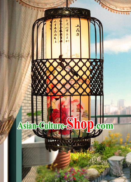 Traditional Chinese Handmade Printing Peony Lantern Classical Palace Lantern China Ceiling Palace Lamp