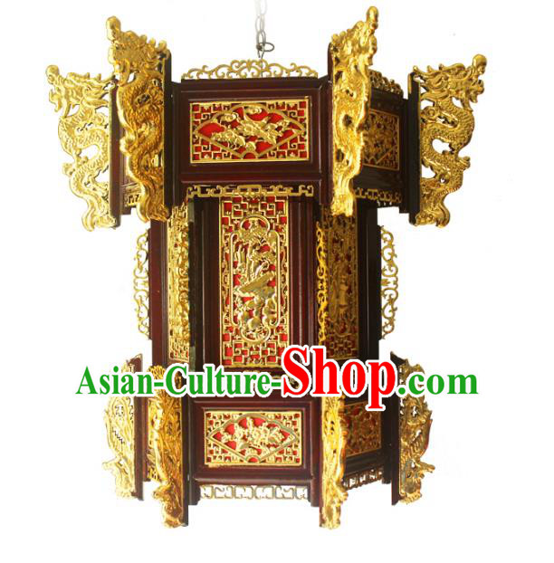 Traditional Chinese Handmade Hexagon Lantern Classical Dragons Palace Lantern China Ceiling Palace Lamp