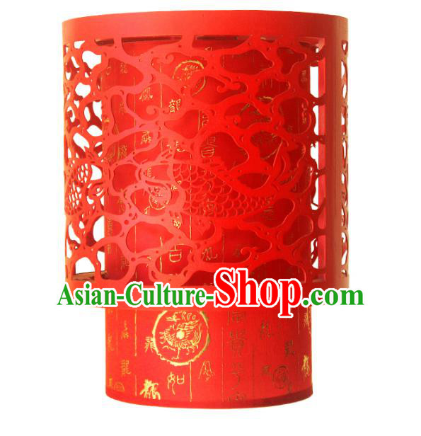 Traditional Chinese Handmade Wood Carving Dragons Ceiling Lantern Classical Palace Lantern China Palace Lamp