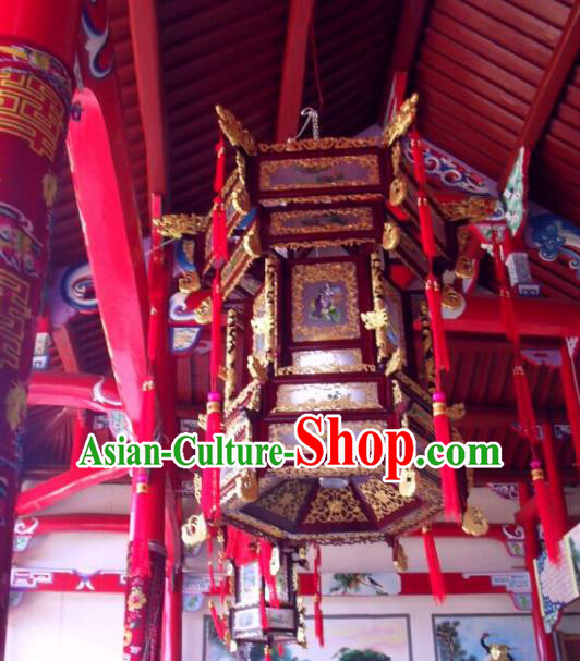 Traditional Chinese Handmade Woodcarving Ceiling Lantern Classical Palace Lantern China Temple Palace Lamp