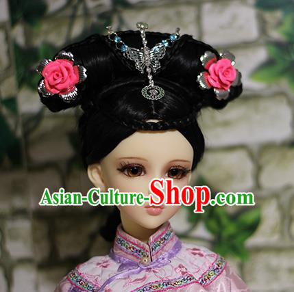 Traditional Handmade Chinese Ancient Qing Dynasty Princess Hair Accessories Hairpins and Wig Complete Set for Women