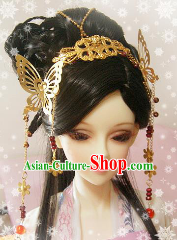 Traditional Handmade Chinese Ancient Tang Dynasty Princess Hair Accessories Hairpins and Wig Sheath for Women