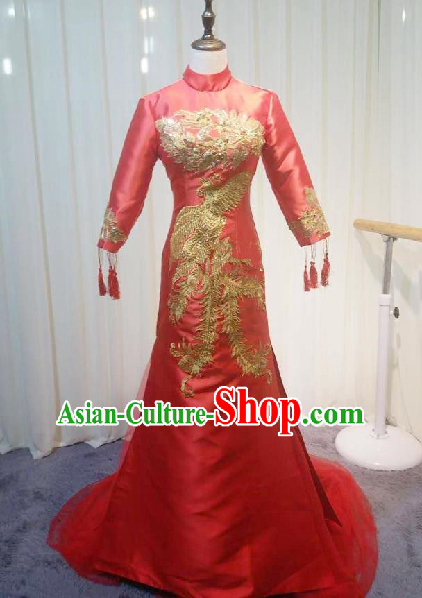 Chinese Style Wedding Catwalks Costume Wedding Red Fishtail Full Dress Compere Embroidered Phoenix Cheongsam for Women