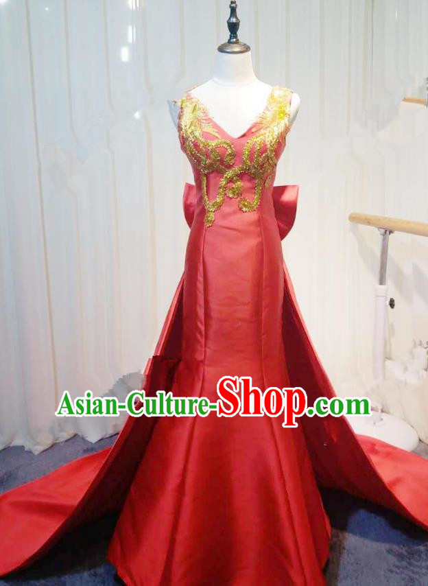 Chinese Style Wedding Catwalks Costume Wedding Red Fishtail Full Dress Compere Embroidered Cheongsam for Women