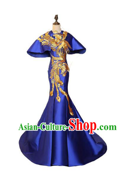 Chinese Style Wedding Catwalks Costume Wedding Blue Fishtail Full Dress Compere Embroidered Phoenix Cheongsam for Women