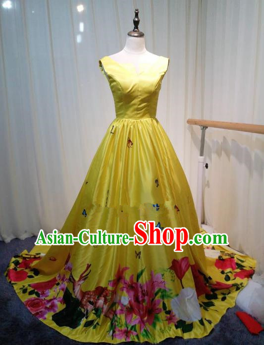 Chinese Style Wedding Catwalks Costume Wedding Trailing Yellow Full Dress Compere Cheongsam for Women