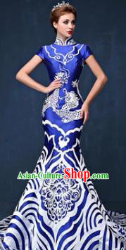 Chinese Style Wedding Catwalks Costume Wedding Bride Full Dress Compere Cheongsam for Women