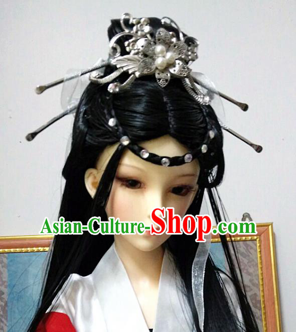 Traditional Handmade Chinese Tang Dynasty Imperial Consort Hair Accessories Hairpins and Wig for Women