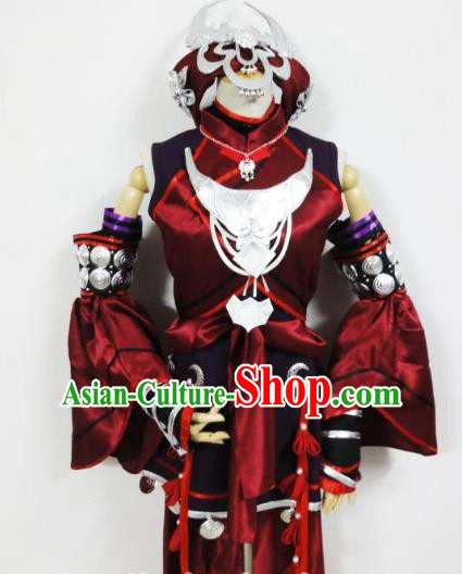 Traditional Chinese Ancient Miao Nationality Swordswoman Cosplay Costume for Women